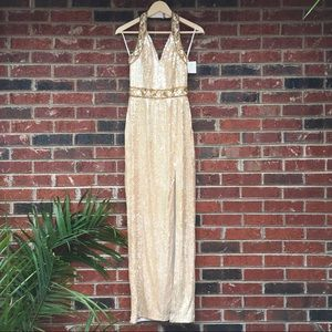 Dresses & Skirts - Vintage Marilyn Champagne Formal Sequin Gold Gown